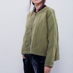 Free People Quilted Aviator Jacket